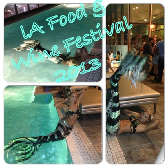 LA Food and Wine Festival 2013. There are Mermaids Swimming in the Pool. Watermark tower after party