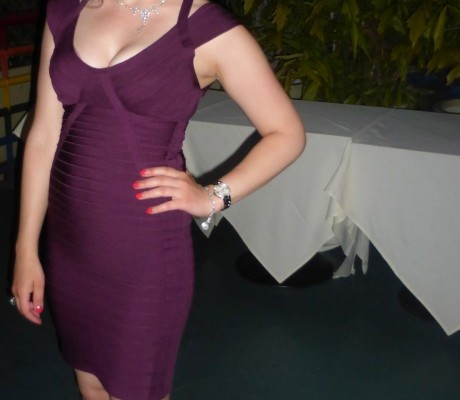 Herve Leger Purple Dress with open Back