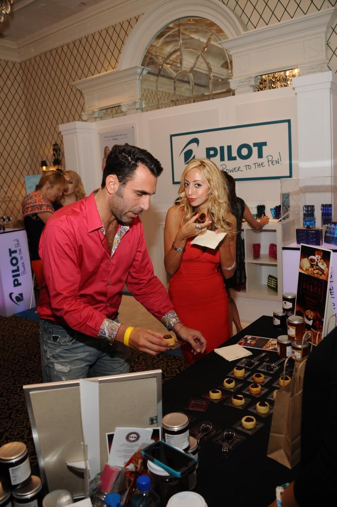 Amanda Bertoncini of Princesses of Long Island trying Prima Dolce Jam at New York Fashion Week GBK Celebrity Gifting Lounge.