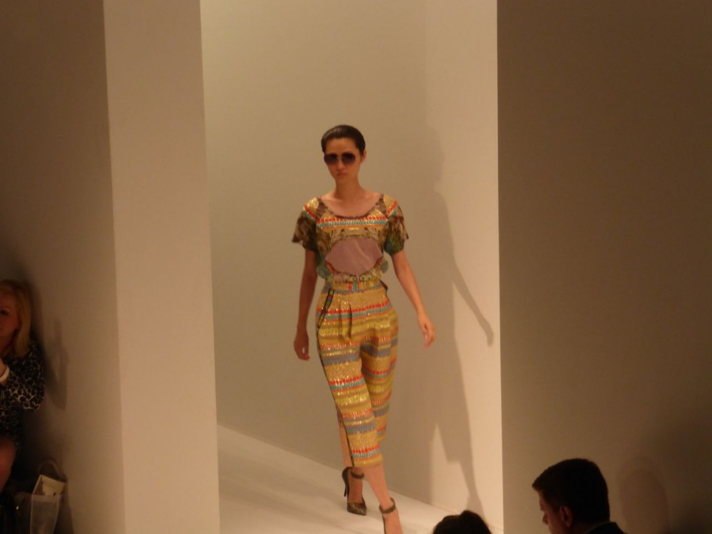 Custo Barcelona Runway Show at New York Fashion Week SS14 Collection. Bright Aztec prints and woven embroidery at Lincoln Center.
