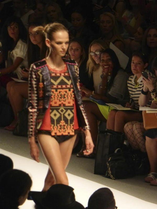 Bikini Bottom with adorned embroidered Custo Barcelona Runway Jacket. NYFW Lincoln Center September 2013