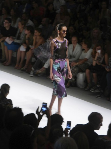 New York Fashion Week Custo Barcelona Runway show Purple patterned skirt sheer sequined top! Spring Summer 2014 Collection