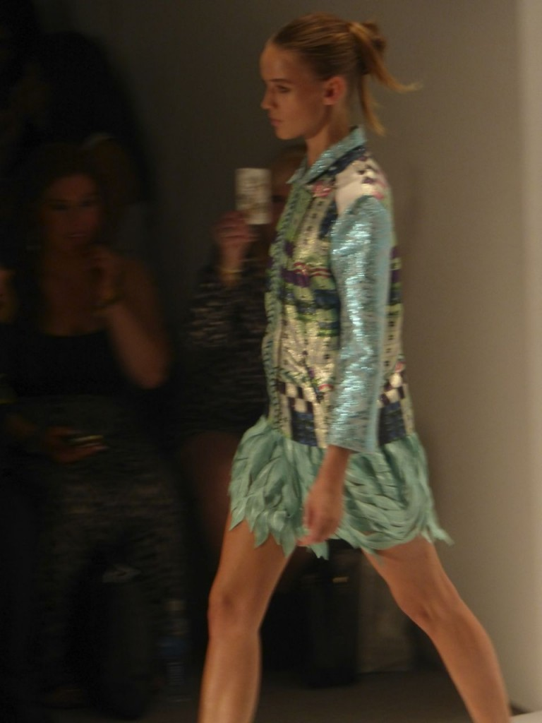 Love this amazing Custo Barcelona turquoise feathered mini skirt with jacket. New York Fashion Week Runway Show.