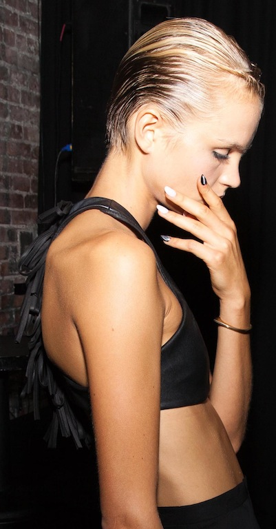 Backstage at Katie Gallagher NYFW  hot Nail Trends