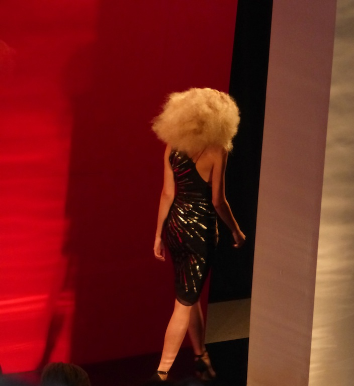 Disco Fever at Reem Acra Wild hair gold dressy dresses NYFW Spring 2014 Collection