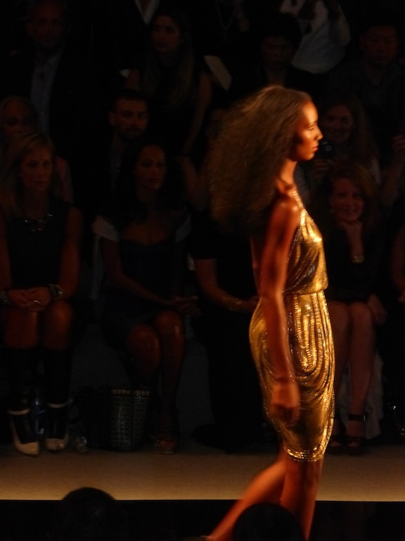 Reem Acra Spring 2014 Collection Gold Glitters Runway Show MBFW