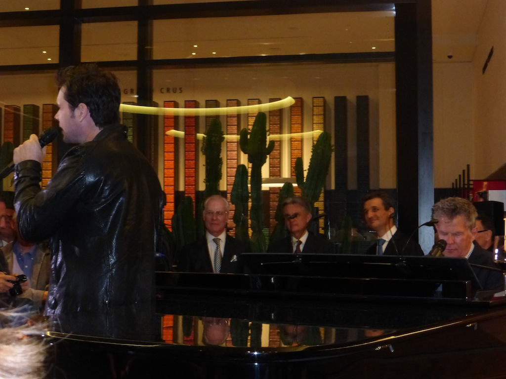 David Foster and Michael Johns perform together at the Nespresso grand opening party in Beverly Hills