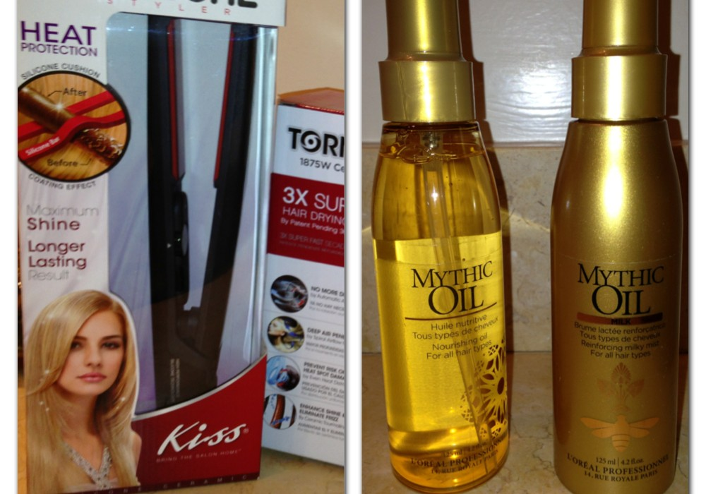 Get super model hair using Kiss Hair Dryer and Flat Iron and L'Oreal Professionnel Mythic Oil Milk