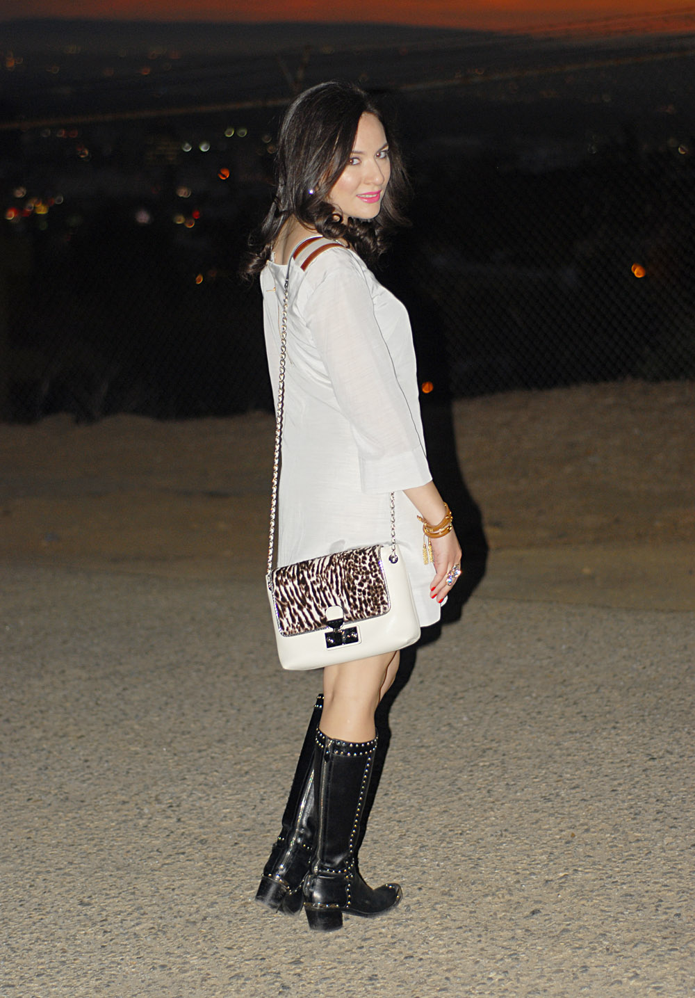 Winter White style trends for winter 2013 party dresses and studded boots by Prada