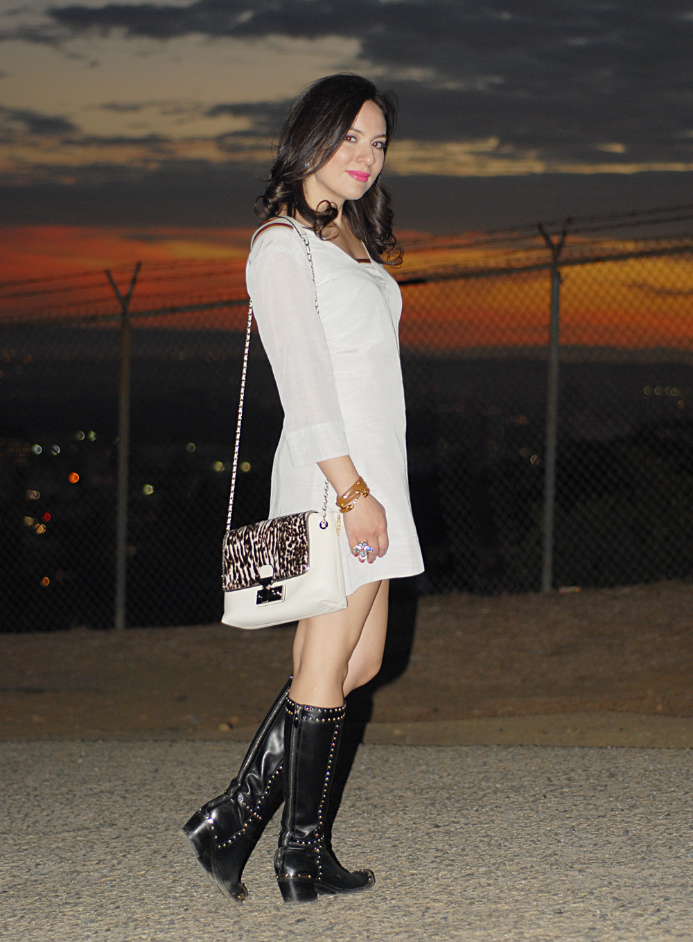 Winter trends 2013 Wearing Winter White Launch by Susan Young Dress, Prada Studded boots, Marc Jacobs  Bag