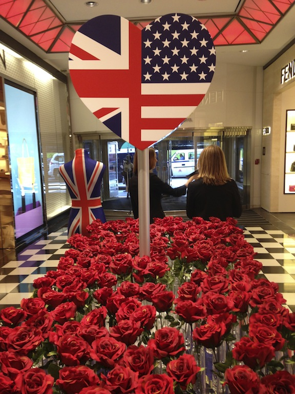 Bloomindales British theme store decoration in New York City During New York Fashion Week