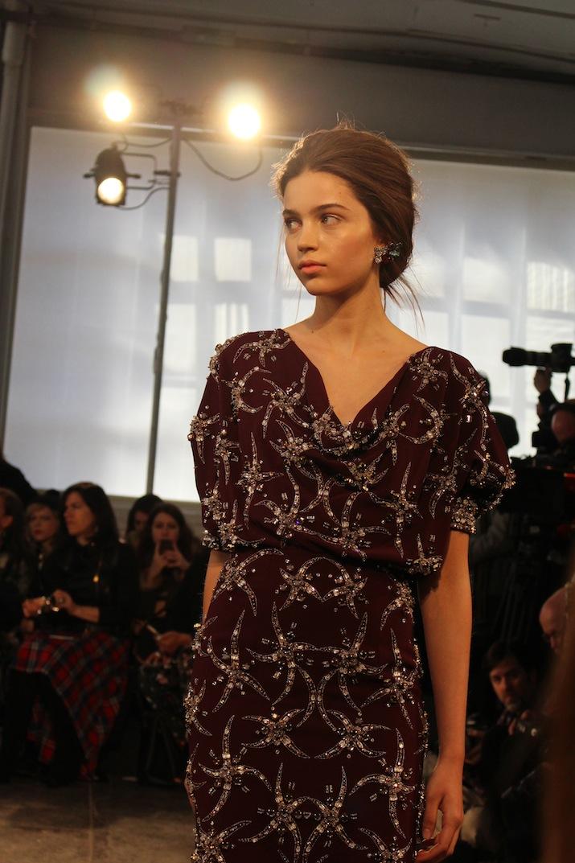 Burgandy eveningwear Jenny Packham NYFW Winter 2014