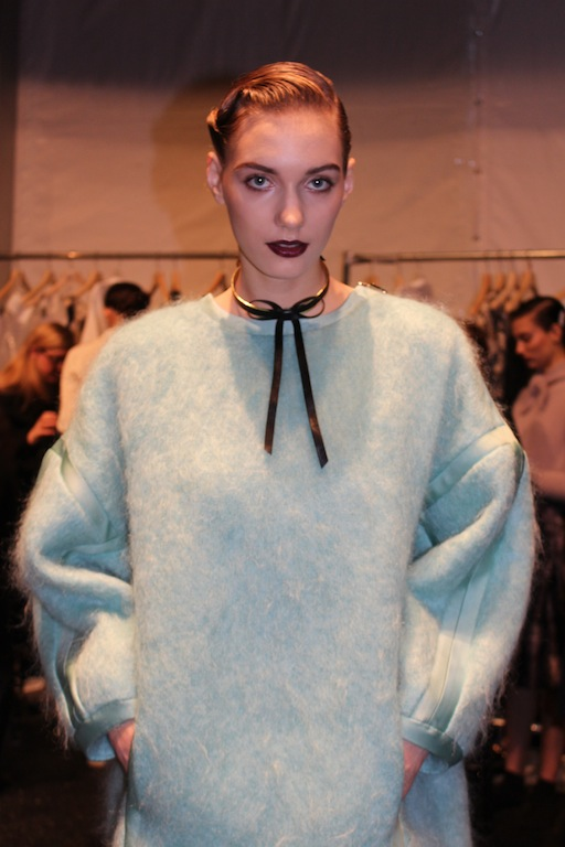 Light Blue big sweater on the runway during Zimmermann Fashion show NYFW Winter 2014