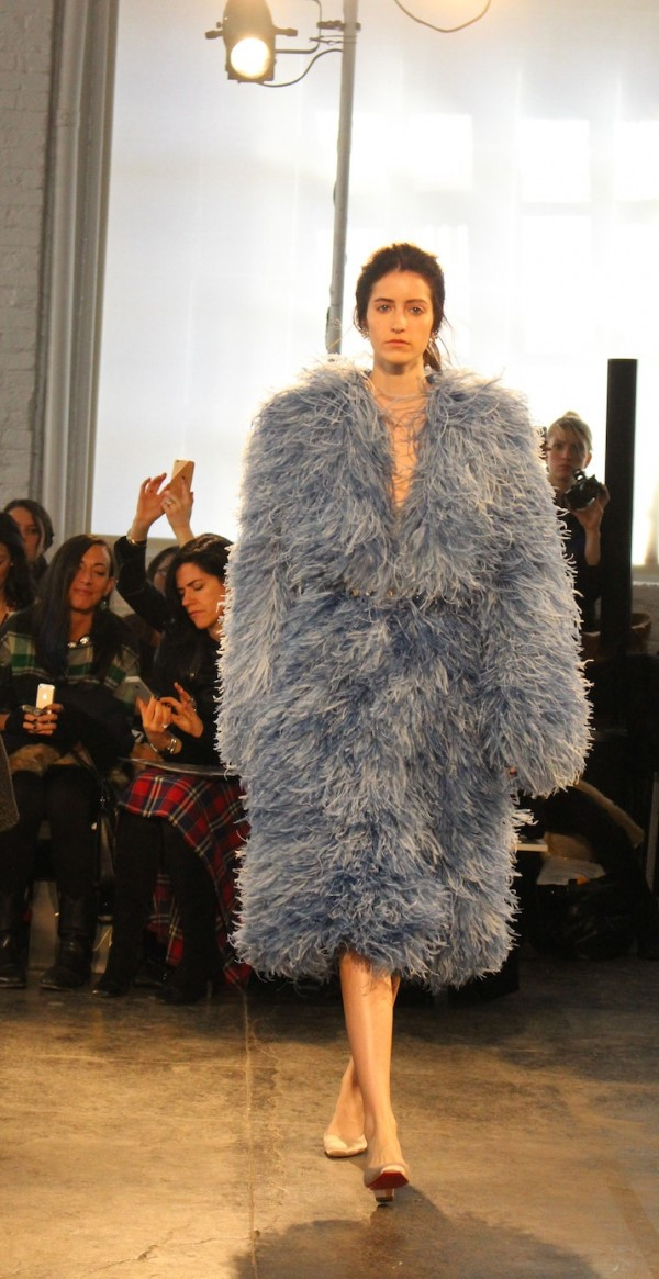 Maltinto Feathered Full Length Coats Jenny Packham NYFW 2014