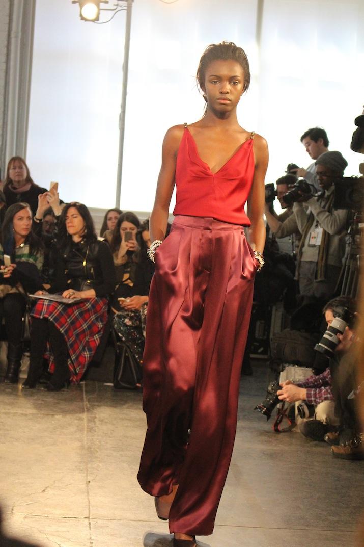 Red Silk Pants Eveningwear Jenny Packham NYFW 2014