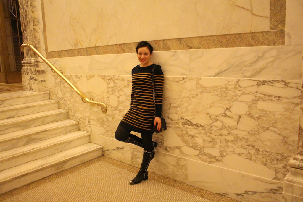 Fashion Week Prada Boots Wolford Tights and Autumn Cashmere Winter NYC Style at The Plaza Hotel