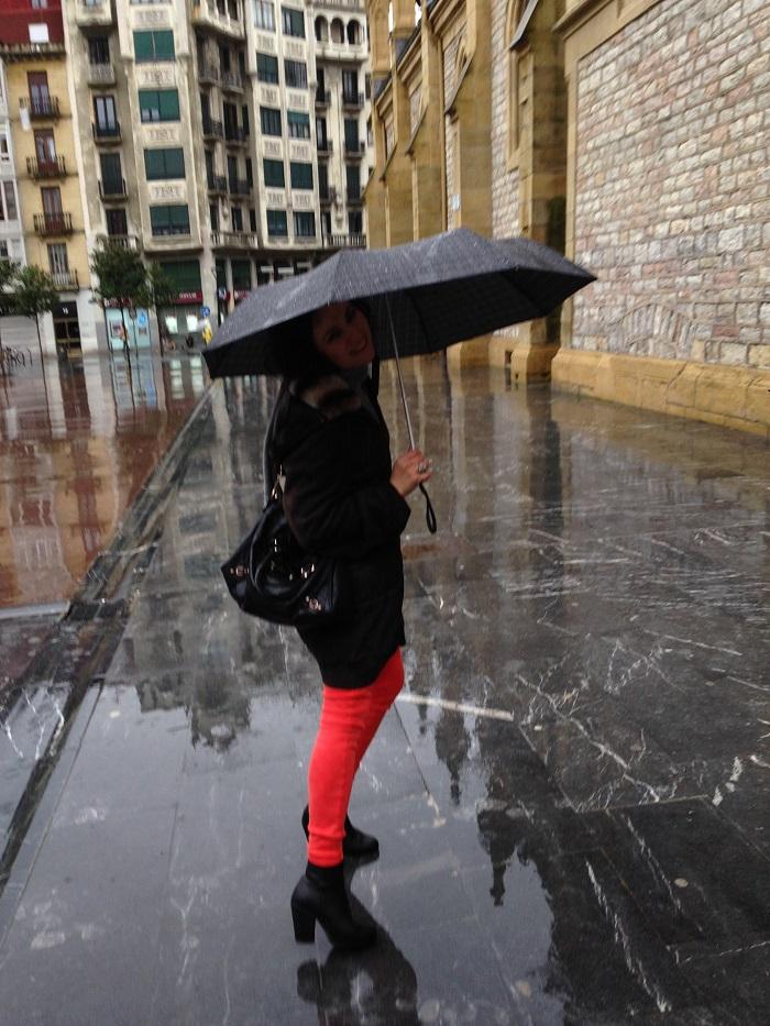 San Sebastian Basque Country fashion style in the rain