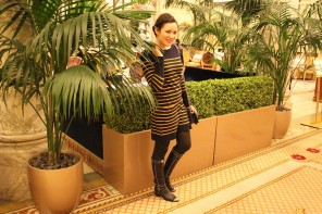 Autumn Cashmere Stripes at the Beautiful Plaza Hotel During Snowy NYFW