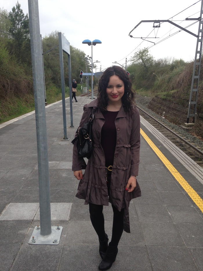 Bilboa Train Station with my Ruffle Darling Jacket and Rag and Bone Boots