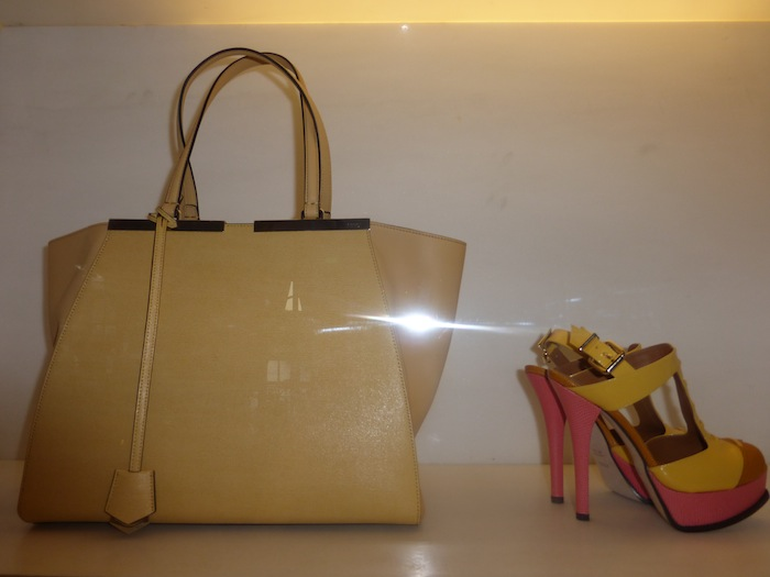 Fendi Yellow and Pink Heels with Matching Bag