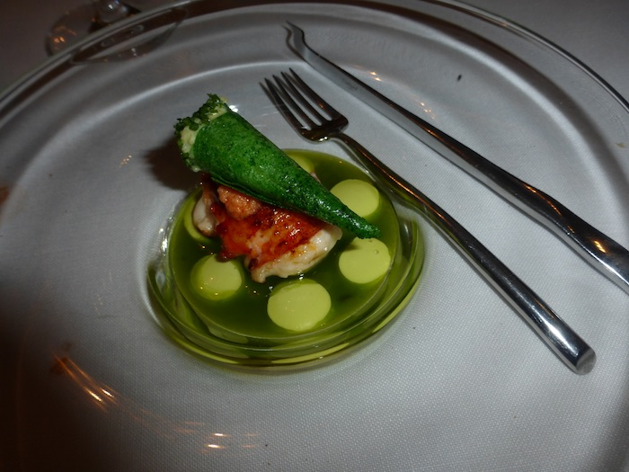 Roasted Lobster Out of the Shell on oil hers and sweet chives Azurmendi 3 Star Michelin Restaurant