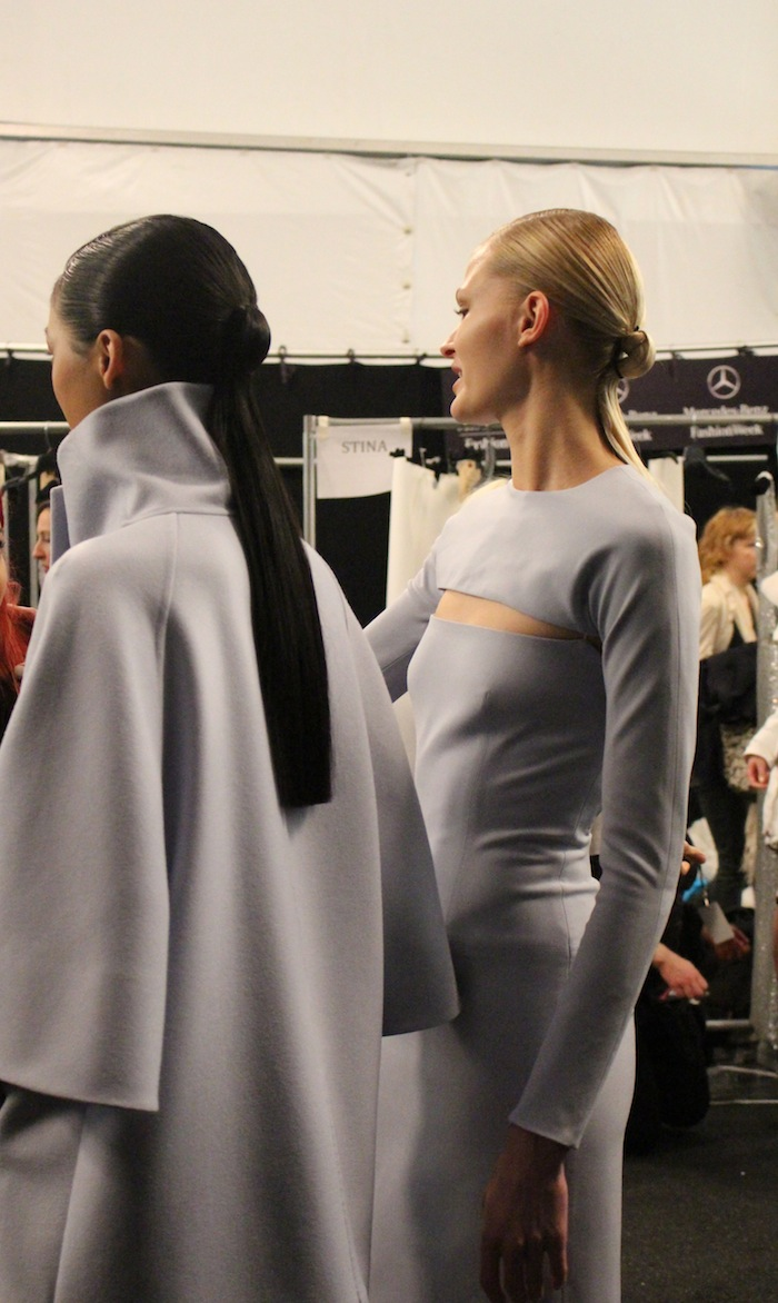 Winter cut out dresses by Kaufman Franco Backstage with the Models right before show time
