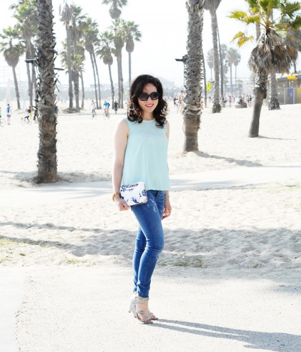 Blogger photo shoot in Santa Monica wearing Zara Darkling UK and Brahmin clutch