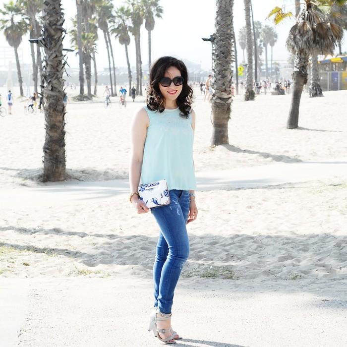 Blogger photo shoot in Santa Monica wearing Zara Darkling UK and Brahmin clutch