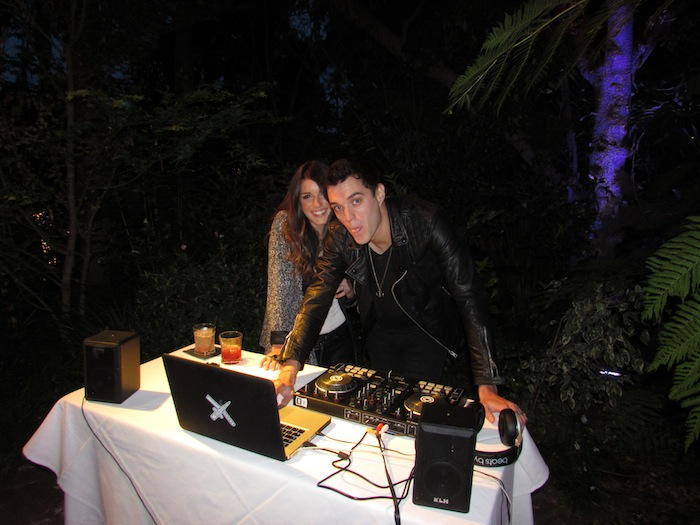 DJ Shenae Grimes and hubby Josh Beech playing some tunes for guests at the Joico Summer Event