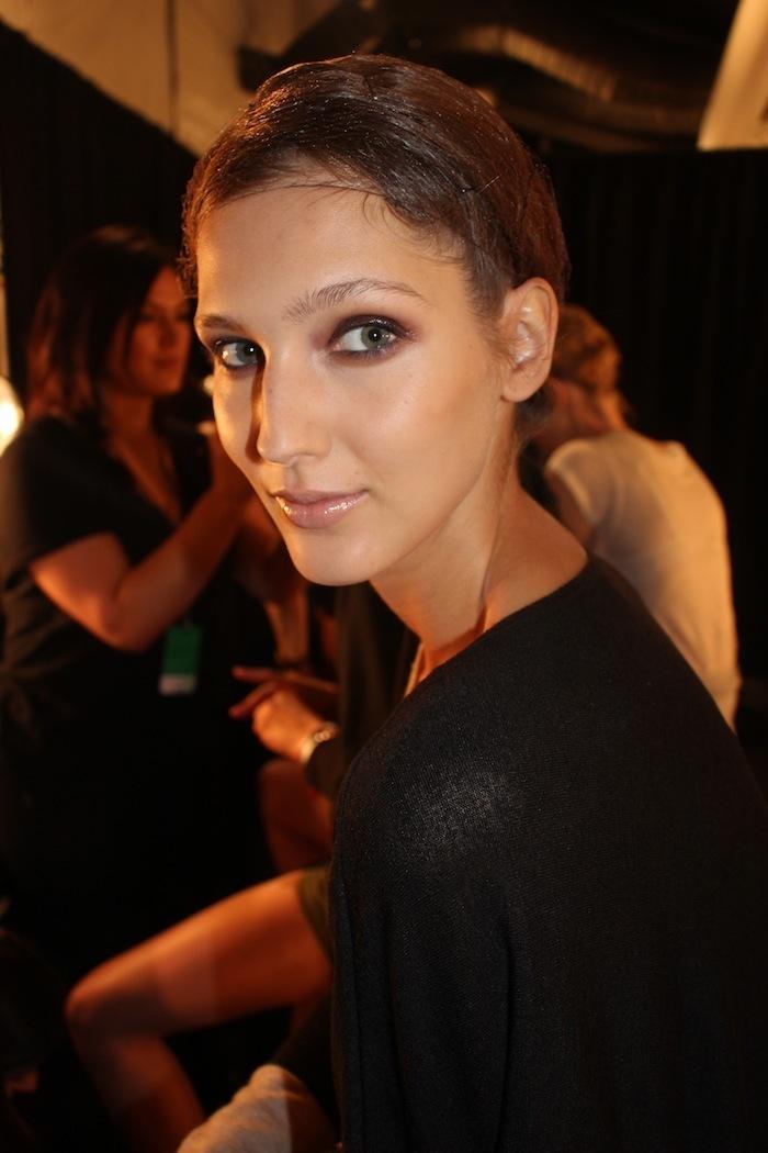 Backstage Georgine New York Fashion Week Beauty Trends Glossy Eyes Ana Gilca
