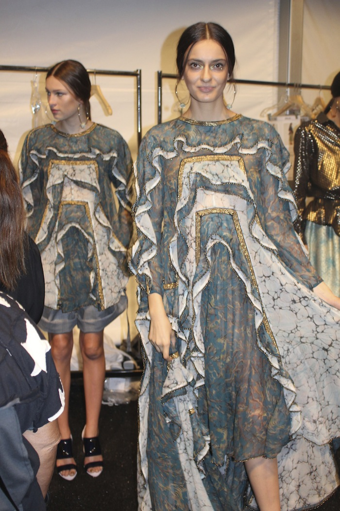 Zimmermann beautiful dresses models backstage at NYFW SS2015 Fashion Show