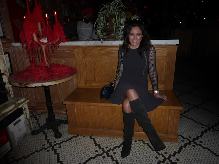 Rebecca Taylor Runway Dress Sergio Rossi Boots at Style fashion blogger holiday party