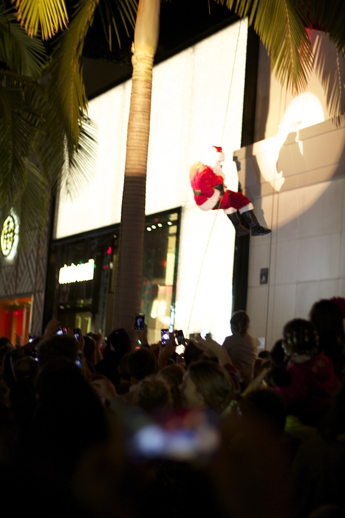 Santa Clause like Spiderman in Beverly Hills Luxe Hotel Rodeo Drive