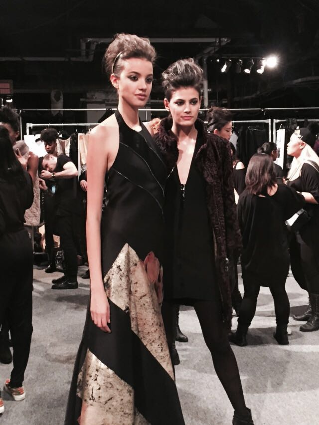 Carmen Marc Valvo NYFW Long Black and Gold Couture Dress
