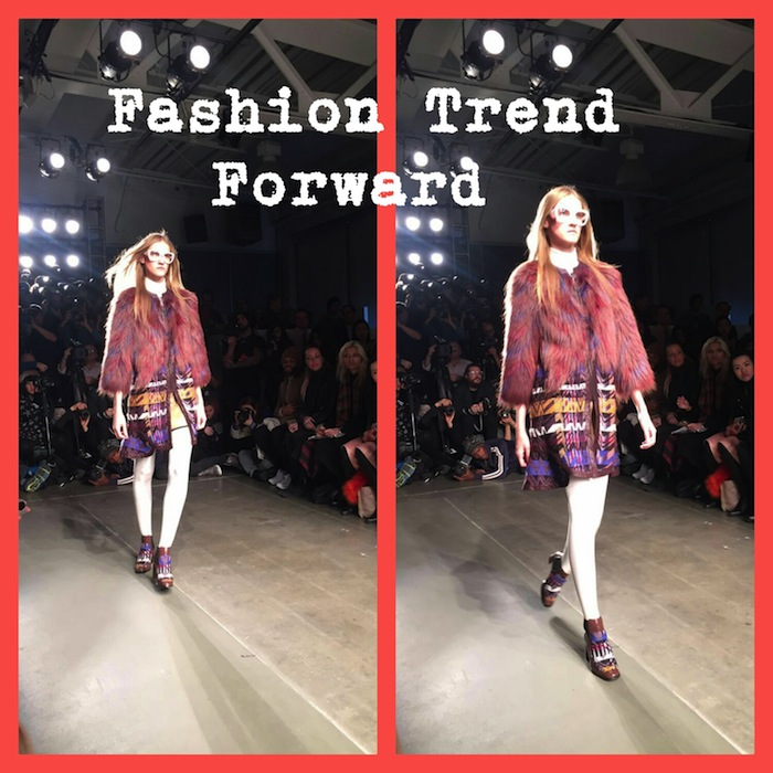 Fashion Trend Forward Custo Barcelona NYFW 2016 Plaid Dress Red Fur Coat White Tights