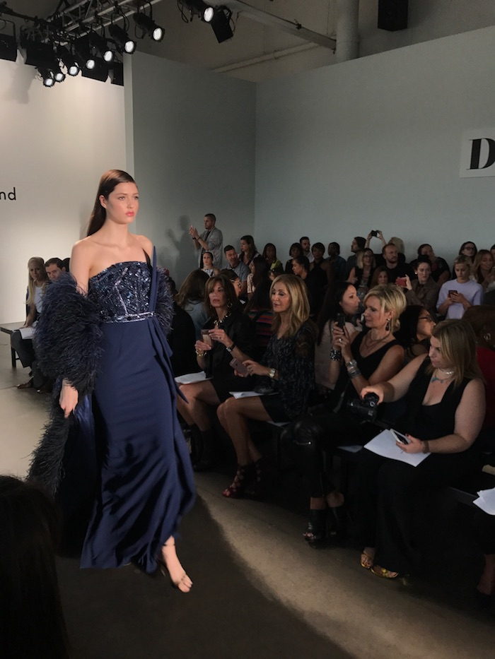 Pamella Roland navy blue gown from NYFW Runway Show SS18