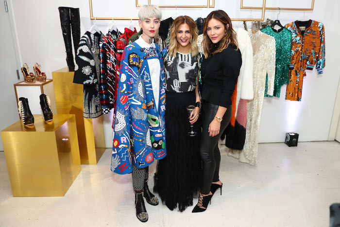 Artist Illma Gore Tradesy CEO Tracy DiNunzio and Katharine McPhee attend the Tradesy Showroom Opening on November 8 2017 in Santa Monica