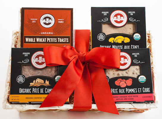 organic red ribbon pate gift basket