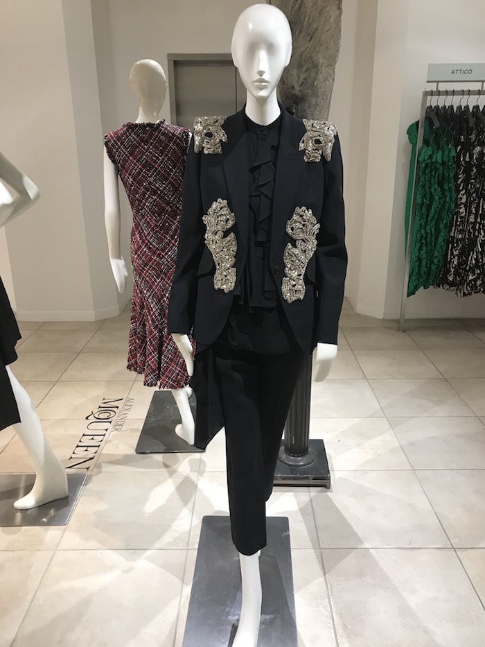 2018 Jacket Style Trends Alexander McQueen Crystal Blazer and Black Ruffle Top
