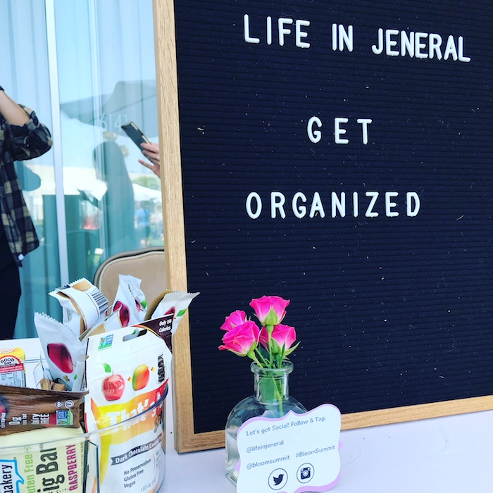 Life in Jeneral Get Organized at Bloom Summit with their snack bar Beverly Hilton 2018